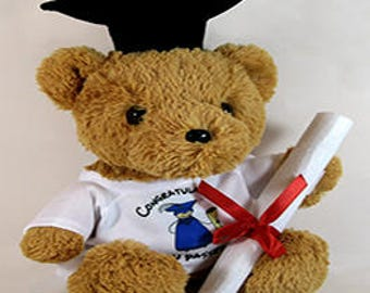 Personalised Cuddly Soft Graduation Bear with Scroll Comes With Its Own T Shirt