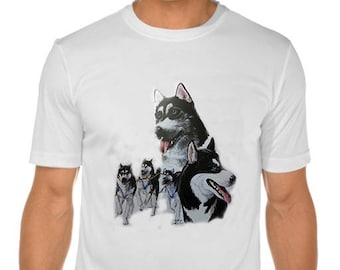 New Womans Mens Unisex Graphic Print Siberian Husky  Dog White Cotton T Shirt