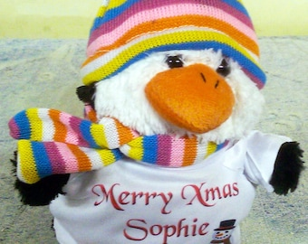 Personalised Cuddly Soft Christmas Perry Penguin Toy Comes With Its Own T Shirt Hat and Scarf