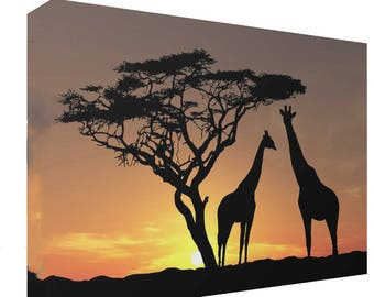 Giraffes Under Tree Silhouette African Sunset Canvas Print Wall Art Ready To Hang Or Poster Print
