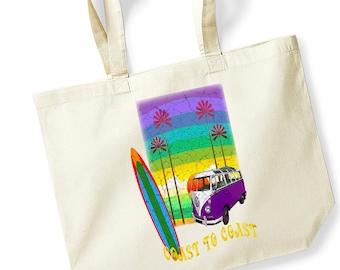 Camper Van and Surf Boards Cotton Tote Shopper Bag For Life Shopping Bag