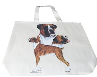 Boxer Dog  Printed Bag  100% Cotton Tote  Shopper Bag For Life