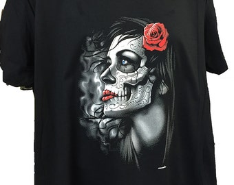 Gothic Girl and Red Rose Black Cotton T shirt New Womans Men's Unisex