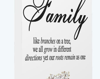 Family Like Branches on a  Tree Motivational Quote   Canvas Print Wall Art High Quality Print Framed Ready To Hang