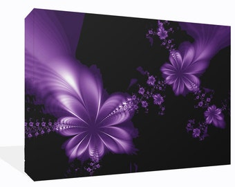 Fantasy Dream Flowers Purple and Black  Canvas Wall Art Print