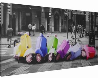 Retro Vespa Scooter Domino Colour Splash Canvas Print