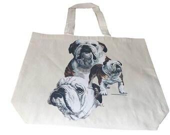 British Bulldog  Dog  Printed Bag  100% Cotton Tote  Shopper Bag For Life