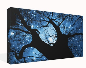 "Fantasy Landscape Blue Tree Canvas Print Wall Art Premium Quality 34"" x 20"""