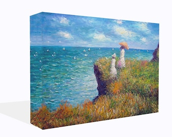 Claude Monet Reproduction Cliff Walk  Print Wall Art Ready To Hang Or Poster Print