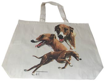 Greyhound Race  Dog  Printed Bag  100% Cotton Tote  Shopper Bag For Life