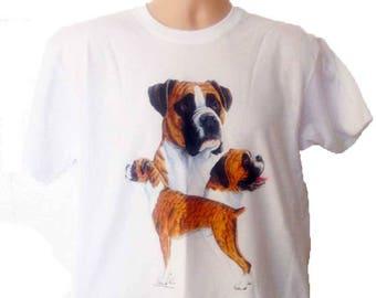 New Womans Mens Unisex Graphic Print Boxer  Dog White Cotton T Shirt