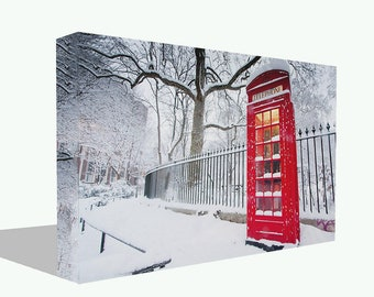 Iconic Red Telephone Box In The Snow Cityscape Print Canvas Or Poster