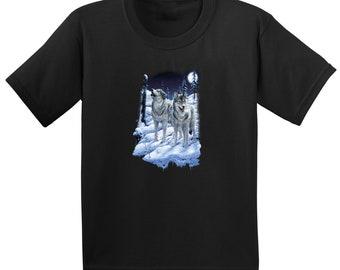 Lunar Moon Wolf Wolves Printed Black Cotton T shirt