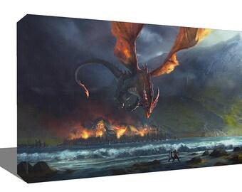 The Hobbit LOTR Smaug Dragon Attack  Print Wall Art Ready To Hang Or Poster Print