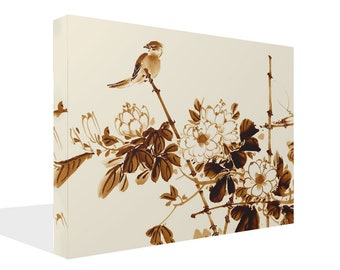 Chinese Style Birds  Brown Cream Artwork  Print Wall Art Ready To Hang Or Poster Print