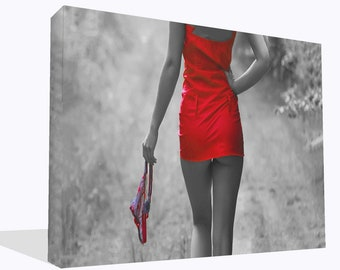 Fantasy Erotic Girl In Red Dress Canvas Print