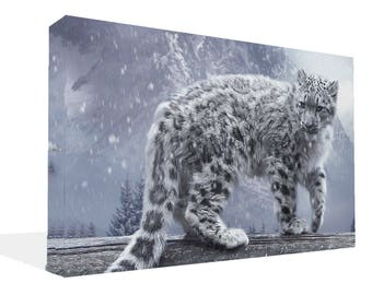 Snow Leopard Standing In Snow Canvas Print  Wall Art Ready To Hang Or Poster Print