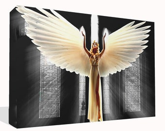 Fantasy Glowing Angel Canvas Print Framed Ready To Hang or Poster Print