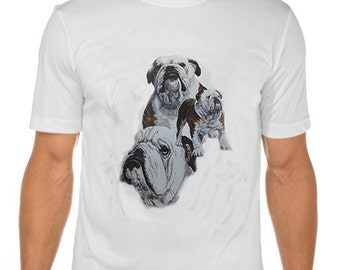 New Womans Mens Unisex Graphic Print British Bulldog Dog White Cotton T Shirt