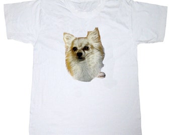 New Womans Mens Unisex Graphic Print Chihuahua  Dog White Cotton T Shirt
