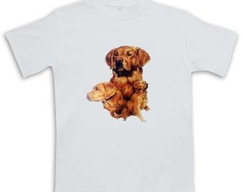 New Womans Mens Unisex Graphic Print Cute Golden Retriever Dog White Cotton T Shirt