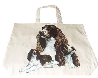 Springer Spaniel Dog  100% Cotton Tote  Shopper Bag For Life