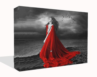 Fantasy Canvas Print Wall Art Premium Beach Angel with Red Dress Ready to Hang Or Poster Print Different Sizes Available