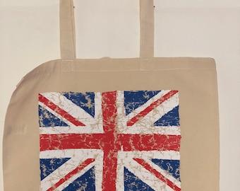 Distressed Union Jack Flag  100% Cotton Tote  Shopper Bag For Life