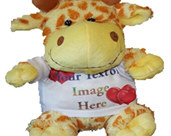 Personalised Cuddly Soft Giraffe Comes With Its Own T Shirt