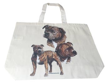 Staffy Staffordshire  Dog  Printed Bag  100% Cotton Tote  Shopper Bag For Life
