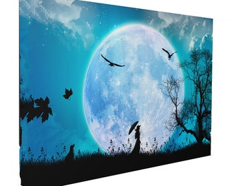 Fantasy Moon and Silhouette Girl With Umbrella Print Wall Art Ready To Hang Or Poster Print