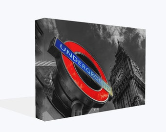 London City Big Ben Red Underground Sign Cityscape Print Or Poster