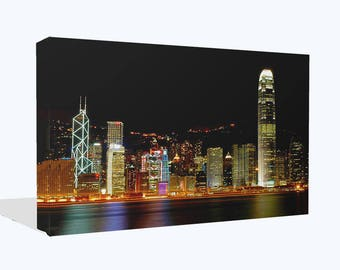 CityScape Lights At Night Hong Kong Canvas Print Wall Art Ready To Hang Or Poster Print