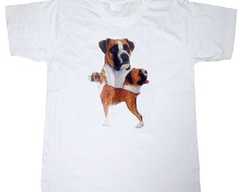 New Womans Mens Unisex Graphic Print Boxer  Dog White Cotton T Shirt