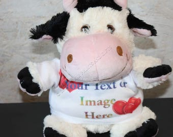 Personalised Printed Cow Teddy Bear - Birthdays, Christmas Christening, Page Boy, Flower Girl, Photo and/or Message. Fluffy. Cute.