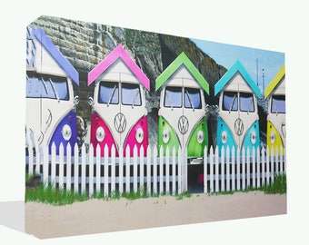 Novelty VW Campervan Retro Beach Huts Canvas Print