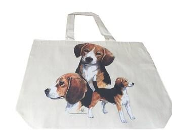 Beagle Hound Dog  Printed  100% Cotton Tote  Shopper Bag For Life