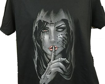 Hooded Gothic Girl  Black Cotton T shirt New Womans Men's Unisex
