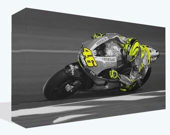 Motorbike Racing Colour Splash Canvas Print Framed