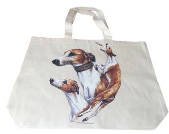 Whippet  Dog  Printed Bag  100% Cotton Tote  Shopper Bag For Life