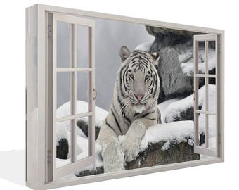 White Tiger Sitting 3D Effect Window   Canvas Print  Wall Art Ready To Hang Or Poster Print
