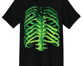 Liquid Blue ® Glow Bones Skeleton Rib Cage Printed Black Cotton T shirt