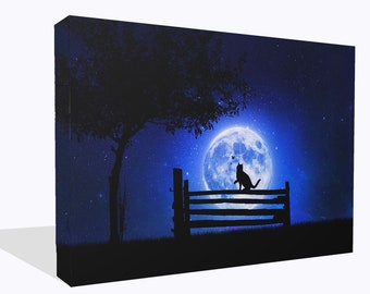 Fantasy Cat Silhouette On Bench Print Wall Art Ready To Hang Or Poster Print