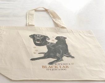 Black Labrador Dog  100% Cotton Tote  Shopper Bag For Life