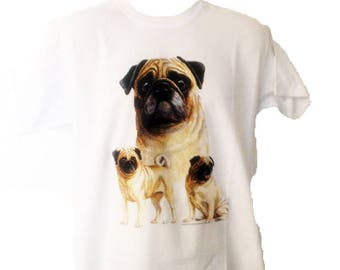 New Womans Mens Unisex Graphic Print Pug  Dog White Cotton T Shirt