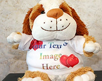Personalised Cuddly Soft Puppy Dog Comes With Its Own T Shirt