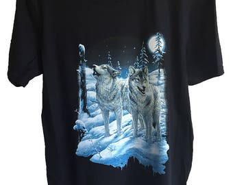 Lunar Moon Wolf Wolves Printed Black Cotton T shirt