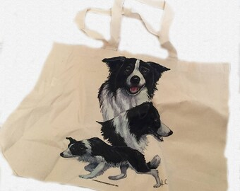 Cute Border Collie Sheepdog  100% Cotton Tote Bag For Life