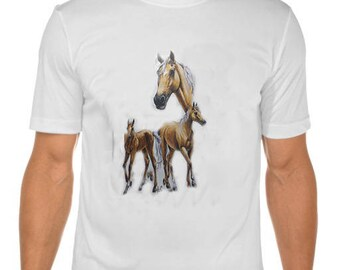 New Womans Mens Unisex Graphic Print Palomino Horse White Cotton T Shirt