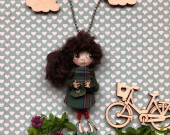 Mini doll, doll, necklace, gift, dolls handmade, birthday gift, collectable doll